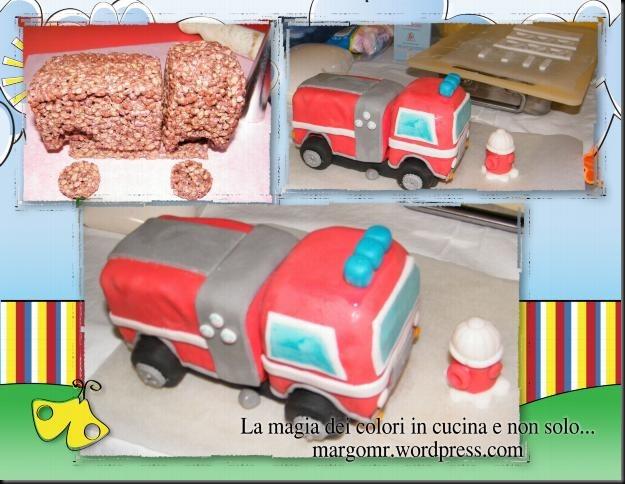 camion dei pompieri in pasta di zucchero