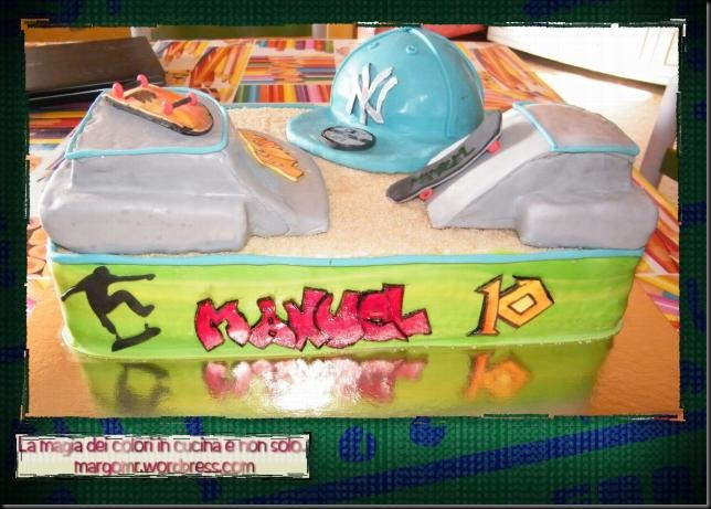 torta skateboard con capellino ny